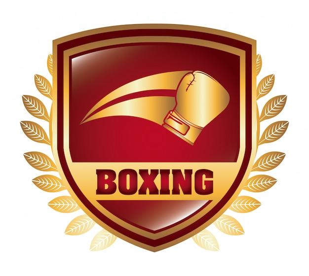 Escudo de boxeo logo diseño gráfico vector gratuito