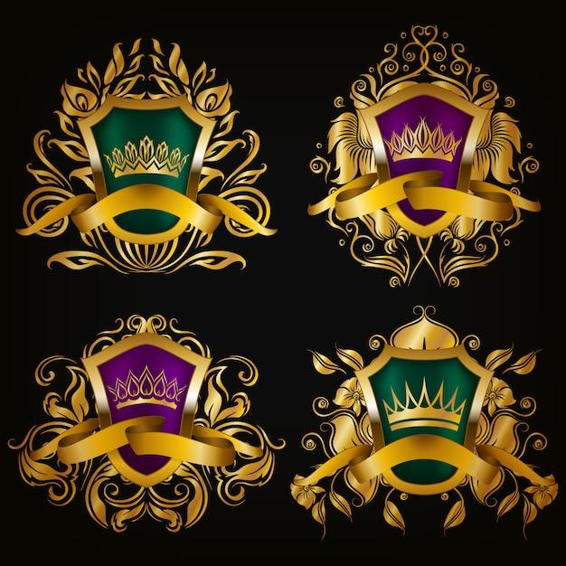 Escudo con conjunto corona Vector Premium