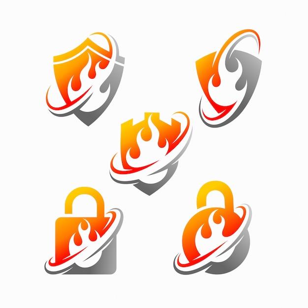 Escudo fuego vector logo Vector Premium