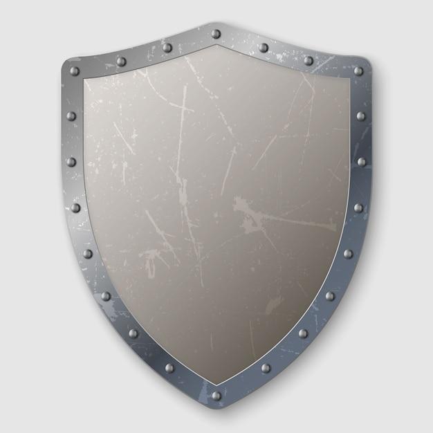 Escudo de metal envejecido realista aislado Vector Premium
