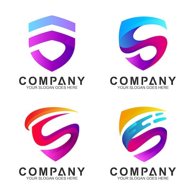 Escudo moderno con letra inicial s logo inspirado en el diseño. Vector Premium
