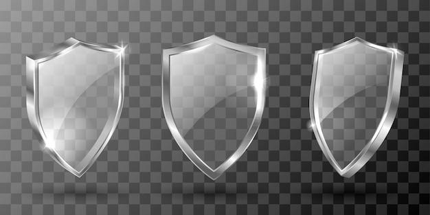 Escudo de vidrio, trofeo de premio realista, certificado vector gratuito