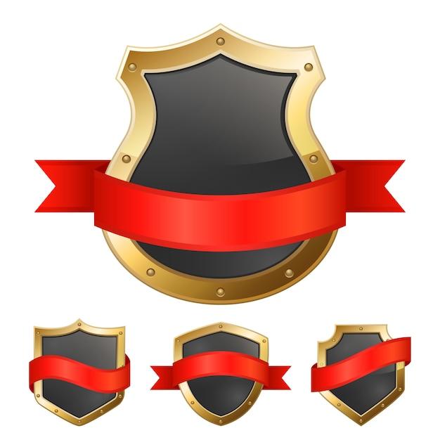 Escudos de marco dorado negro con cinta | Descargar Vectores gratis