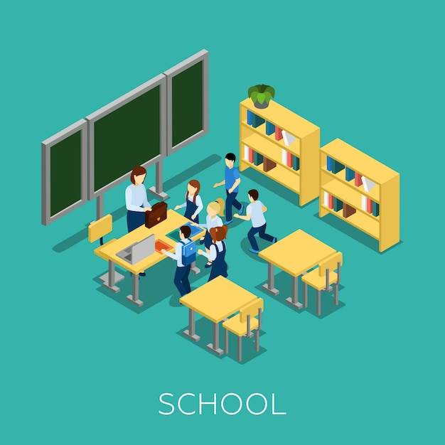Escuela y aprendizaje ilustración vector gratuito