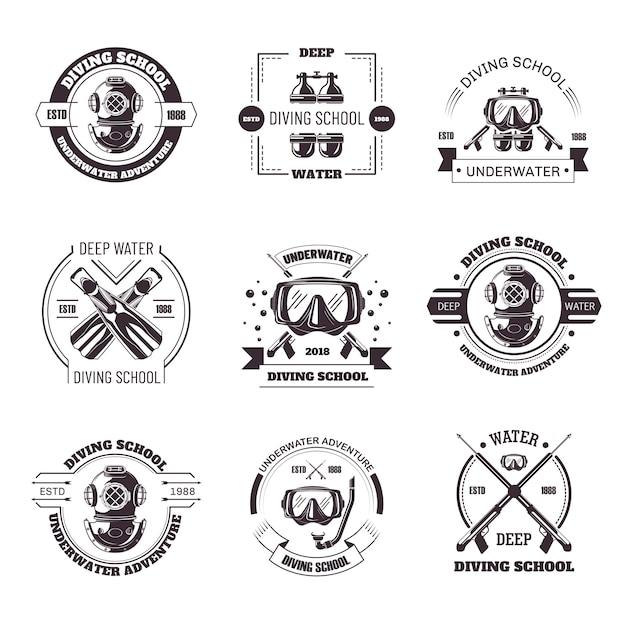 Escuela de buceo promo emblemas monocromos con conjunto de equipos. Vector Premium