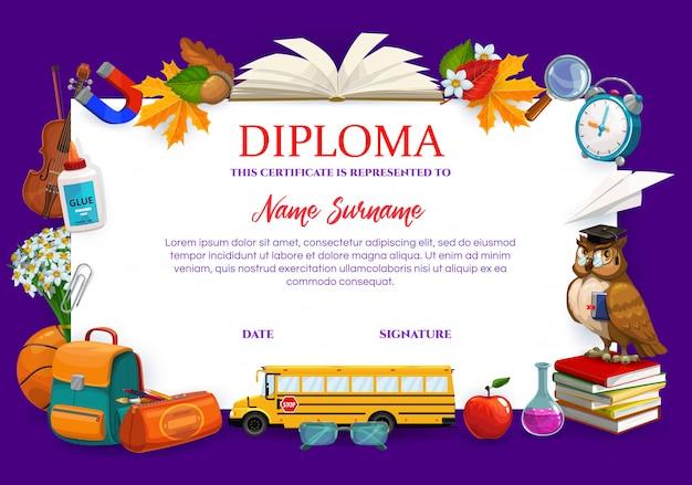 Escuela, certificado de diploma universitario, artículos escolares Vector Premium
