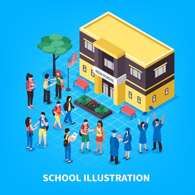 Escuela isométrica ilustración vector gratuito