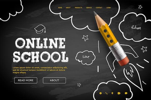 Escuela en linea. tutoriales y cursos digitales en internet, educación en línea, e-learning. plantilla de banner web para sitio web, página de inicio. estilo garabato Vector Premium