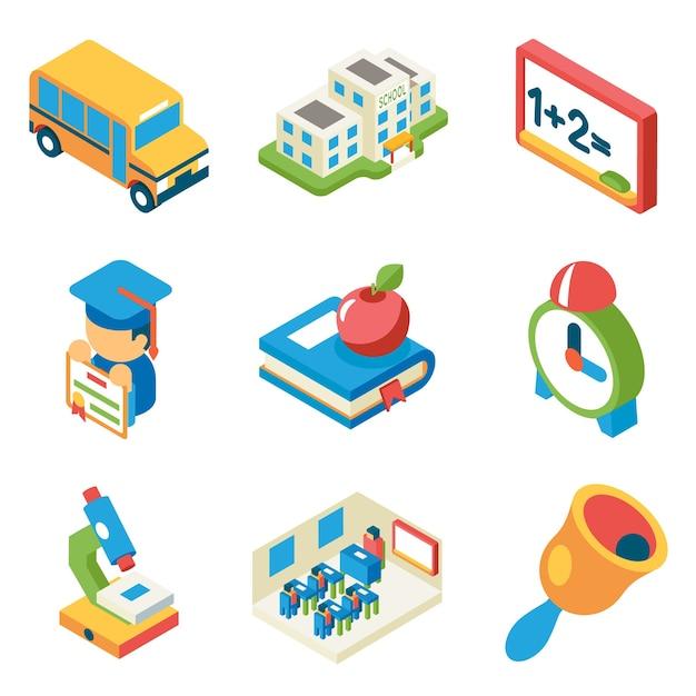 Escuela, universidad y educación iconos planos 3d isométricos. autobús y edificio y microscopio, diploma y campana, libro y manzana, vector gratuito