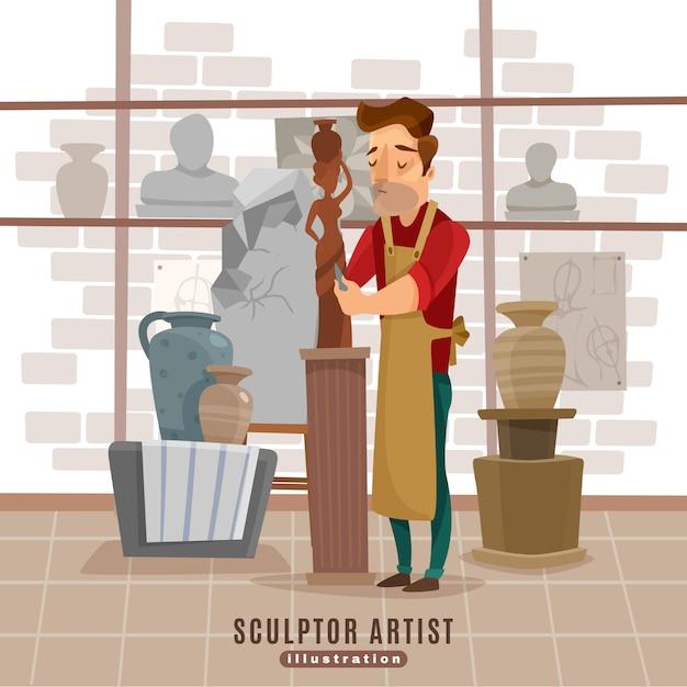 Escultor, artista, en el trabajo, ilustración vector gratuito
