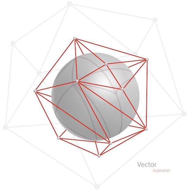 Esfera abstracta gris en una cuadrícula poligonal roja sobre un fondo blanco Vector Premium