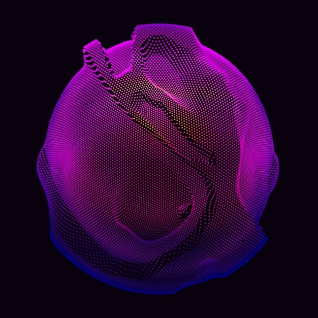 Esfera de malla de degradado sobre fondo oscuro vector gratuito