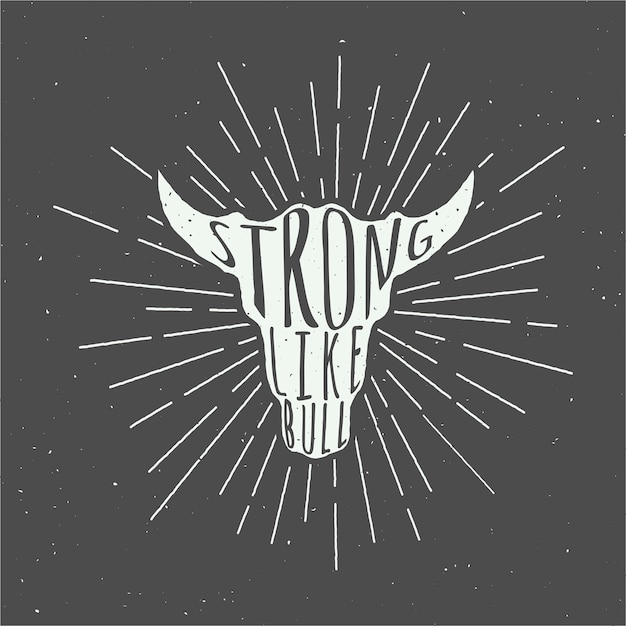 Eslogan de cabeza de toro Vector Premium