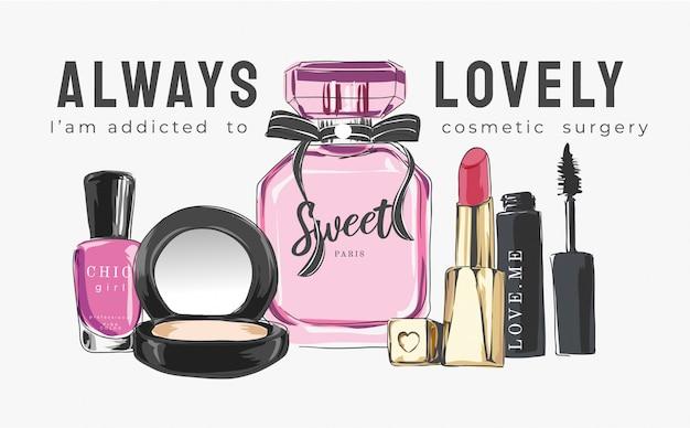 Eslogan con cosmética e ilustración de perfumes. | Vector