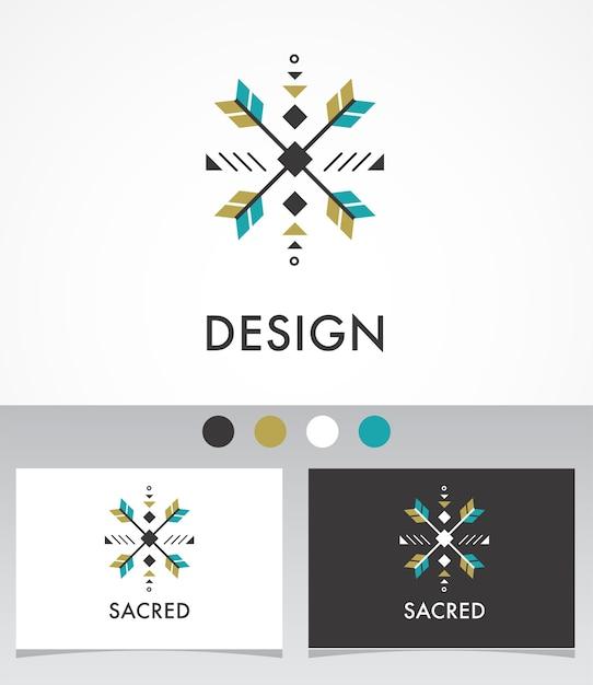Esotérico, alquimia, geometría sagrada, tribal y azteca, geometría sagrada, formas místicas, símbolo e icono Vector Premium
