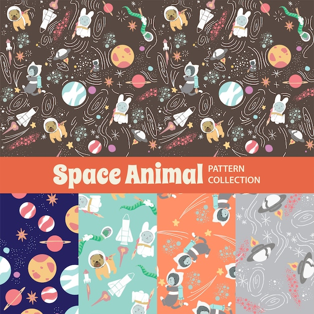 Espacio animal lindo arco iris de patrones sin fisuras Vector Premium