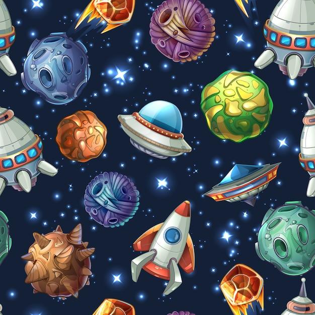 Espacio cómico con planetas y naves espaciales. diseño de dibujos animados, estrellas y ciencia de cohetes. patrón transparente de vector vector gratuito