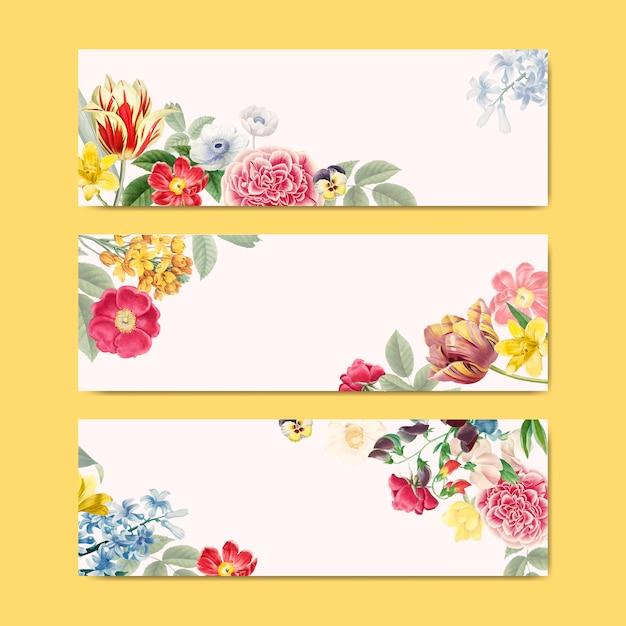 Espacio de copia de banner floral en blanco vector gratuito