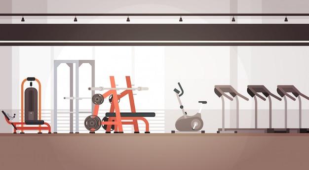 Espacio de copia de equipo de entrenamiento interior de gimnasio de deporte Vector Premium