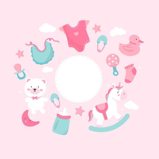 Espacio de copia de tema de ducha de bebé vector gratuito