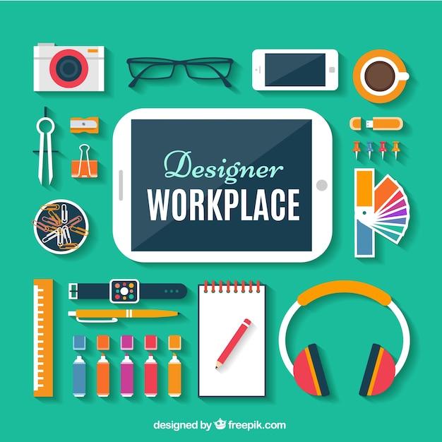 Espacio de trabajo de dise ador en dise o plano - Disenador de espacios ...