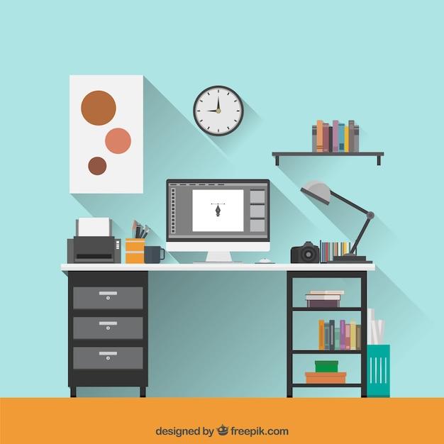 Espacio de trabajo de dise ador gr fico en dise o plano - Disenador de espacios ...