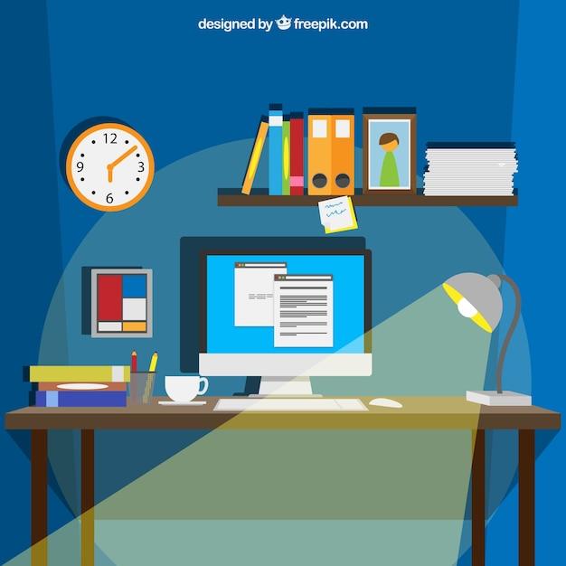 Espacio de trabajo en estilo de dibujos animados for Trabajo para limpiar oficinas