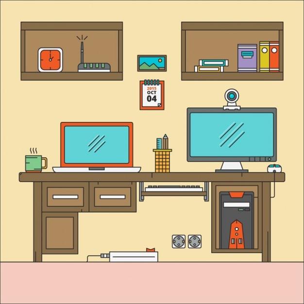 Espacio de trabajo escritorio plano descargar vectores - Escritorio de trabajo ...