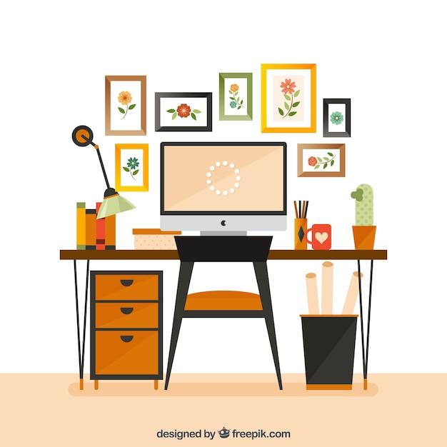 Espacio de trabajo lindo de dise ador descargar vectores - Disenador de espacios ...