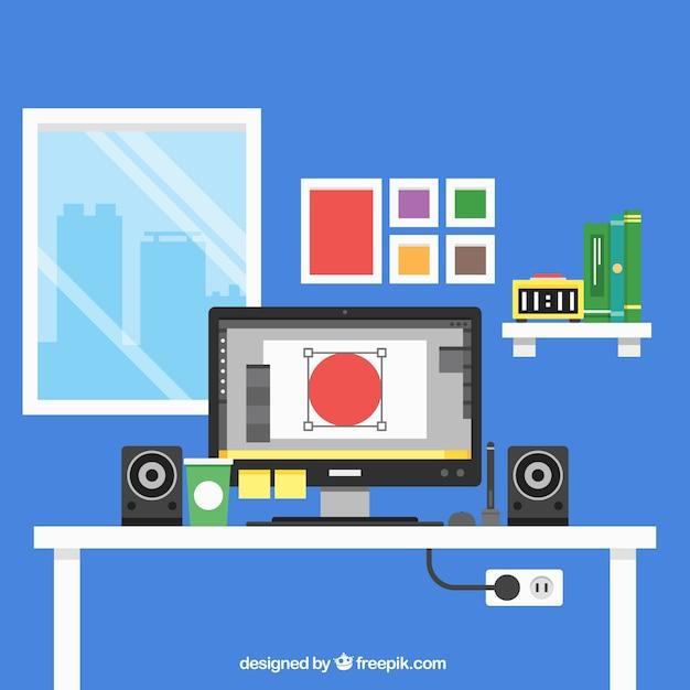Espacio de trabajo plano de dise ador gr fico descargar - Disenador de espacios ...