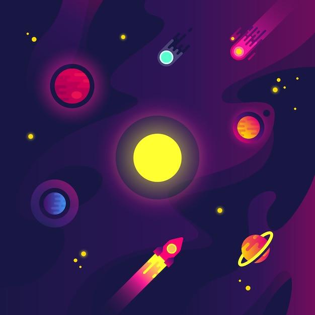 Espacio de dibujos animados con naves espaciales, pequeños planetas, meteoritos y estrellas en el cielo nocturno. Vector Premium