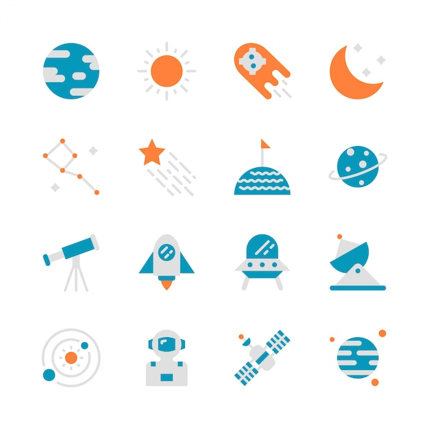 Espacio en diseño plano conjunto de iconos Vector Premium