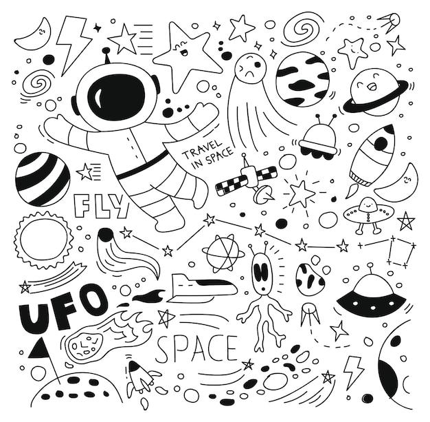 Espacio doodle conjunto ilustración vectorial Vector Premium