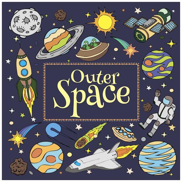 Espacio exterior garabatos, naves espaciales, planetas, estrellas, cohetes Vector Premium