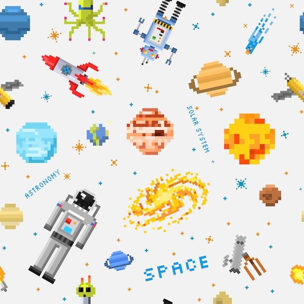 Espacio de fondo transparente, astronauta extraterrestre, cohete robot y cubos satelitales planetas del sistema solar pixel art, estilo de juego digital vintage. Vector Premium