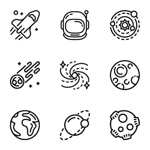 Espacio galaxia conjunto de iconos. esquema conjunto de 9 iconos de galaxias espaciales Vector Premium