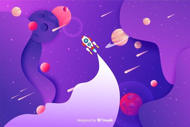 Espacio gradiente con cohete vector gratuito