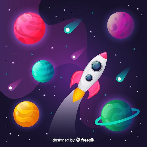 Espacio gradiente con un cohete vector gratuito