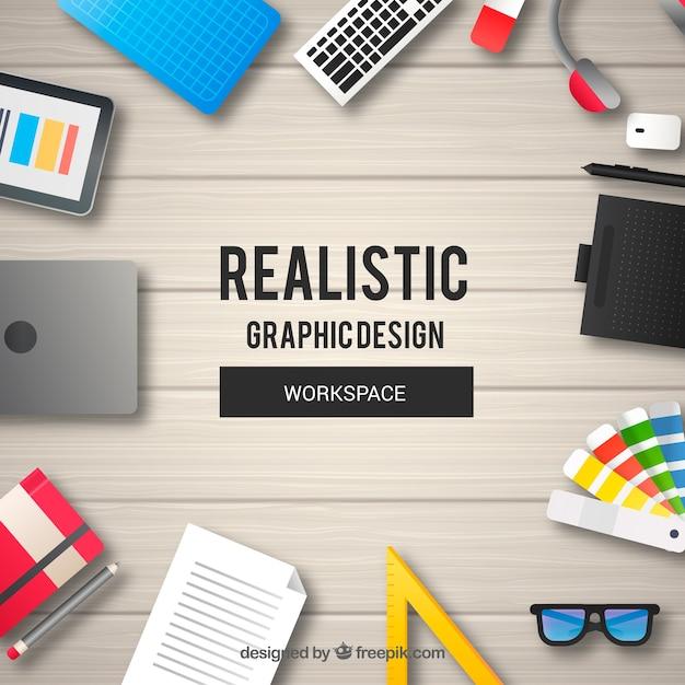 Espacio de trabajo detallado de diseño gráfico vector gratuito