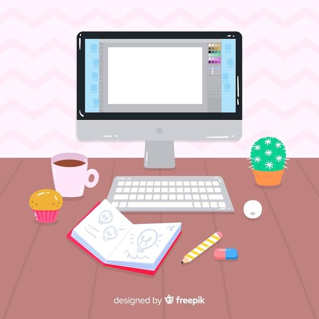 Espacio de trabajo de diseñador gráfico vector gratuito