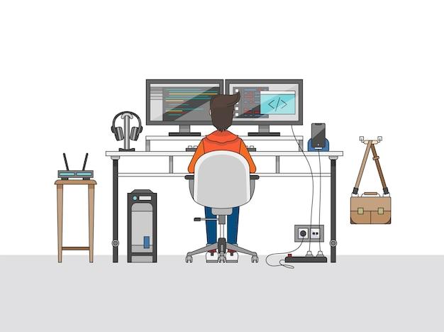 Espacio de trabajo de un ingeniero de audio o productor de música vector gratuito