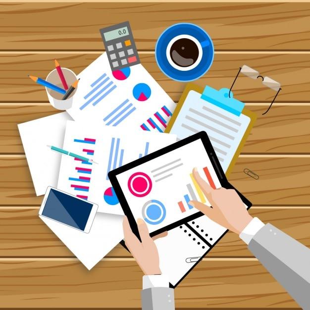 Espacio de trabajo lleno de documentos vector gratuito