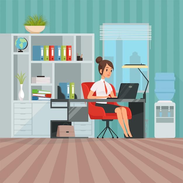Espacio de trabajo de mujer gerente. mujer de negocios en el trabajo Vector Premium
