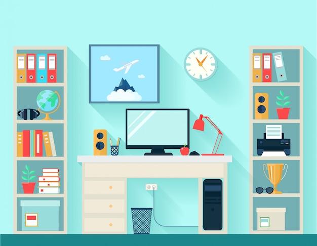 Espacio de trabajo en sala con mesa de ordenador. vector gratuito