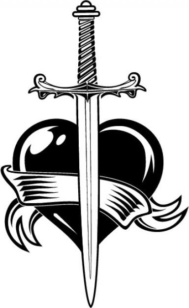 Espada Y El Corazón Con La Cinta Descargar Vectores Gratis