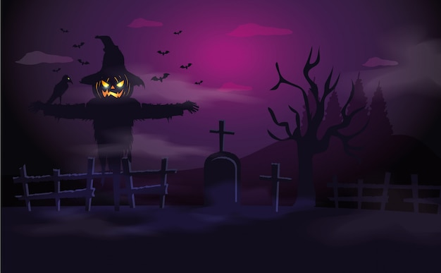 Espantapájaros con tumba en escena de halloween vector gratuito