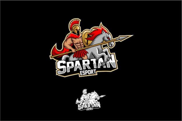 Espartano con mascota de caballo esport Vector Premium