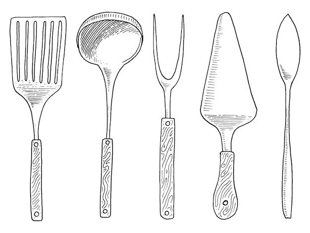 Espátula para caliente, caviar y postre, tenedor para arenque o cucharón. Vector Premium