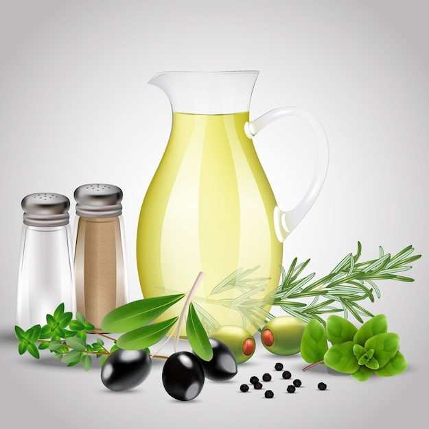 Especias y hierbas con una botella de aceite de vidrio Vector Premium