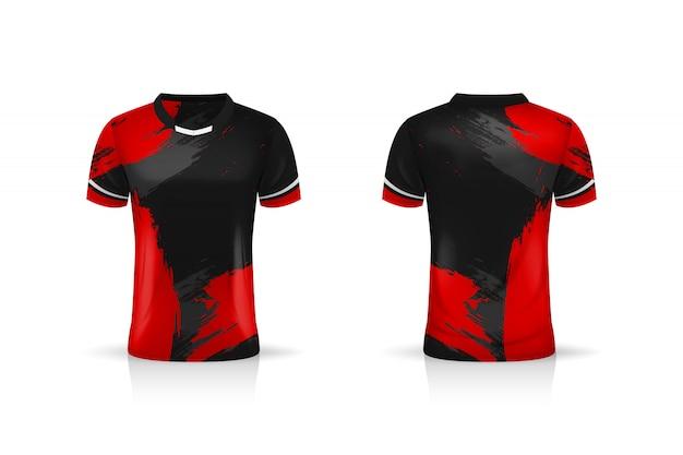 Especificación soccer sport, esport gaming t shirt jersey template. uniforme ilustración Vector Premium